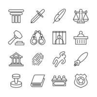 ícone de linha definido para julgamento vetor
