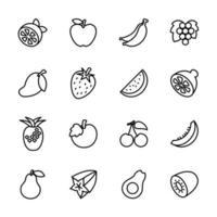 conjunto de ícones de linha frutas populares vetor
