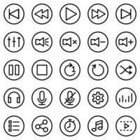 ícone de linha definido para aplicativo ou software media player vetor