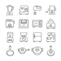 conjunto de ícones de linha de equipamentos de cozinha vetor