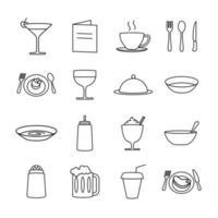 ícone de linha de servir comida definida para restaurante vetor