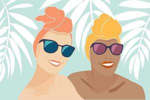 selfie de verão felizes sorrindo namoradas com turbantes vetor