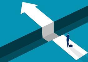 homem de negócios, pensando em lacunas no caminho para o sucesso vetor