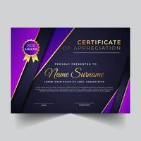 certificado para apreciação com camadas sobrepostas roxas vetor