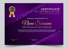 certificado roxo metálico de design de agradecimento vetor