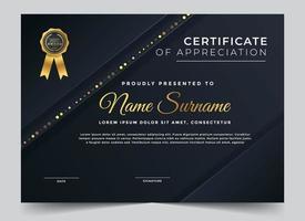 certificado azul escuro com camadas angulares e borda de brilho vetor