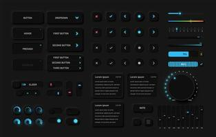 pacote de interface de usuário preto detalhado vetor