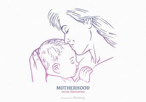 Silhueta Drawn Silhouette Grátis Mãe E Criança