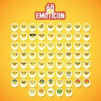 conjunto de emoticon ovo amarelo vetor