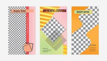 conjunto de mídias sociais com design abstrato colorido vetor
