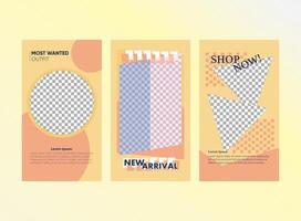 conjunto de história de mídia social de venda de moda vetor