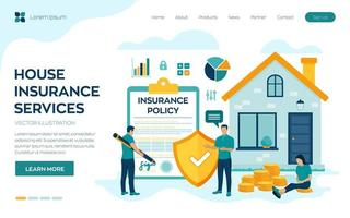 página de destino do seguro residencial vetor