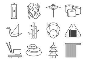 Pacote japonês livre de vetores de ícones