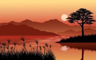 lago e montanhas à tarde vetor