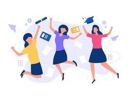 meninas felizes da graduação vetor