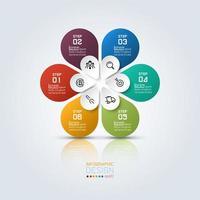 infográfico de flor colorida com 6 opções