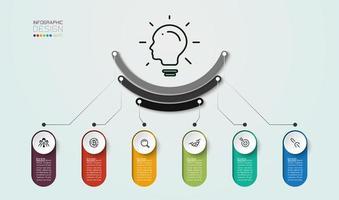 Diagrama de 6 etapas para uso no planejamento de marketing vetor