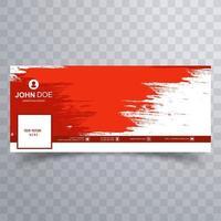design de capa de mídia social abstrata pincelada vermelha vetor