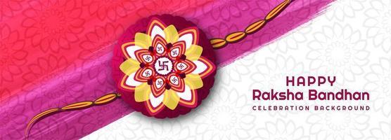 banner de festival raksha bandhan feliz rosa e branco vetor