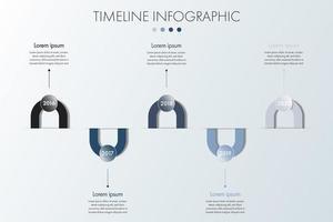 modelo de infográfico monocromático simples de linha do tempo vetor