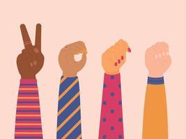mãos femininas, mostrando a palavra voto linguagem gestual vetor