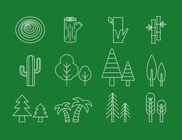 Ícones de linha de árvore vetor