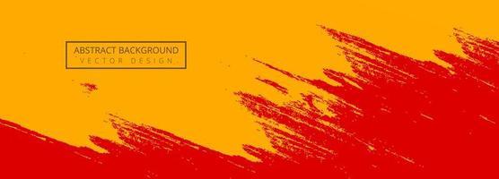 banner de pincel de traço de tinta vermelha e laranja abstrata vetor