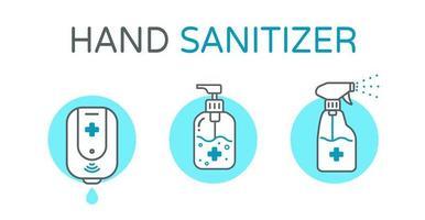 ícones de lavagem de mão de álcool vetor