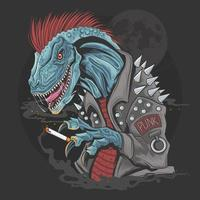 dinossauro punk raptor vetor