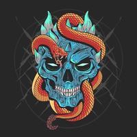crânio com uma cobra vetor