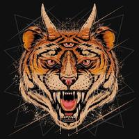 cabeça de tigre sorriu vetor