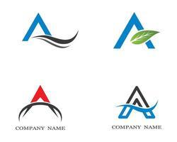 carta um conjunto de logotipo simples vetor