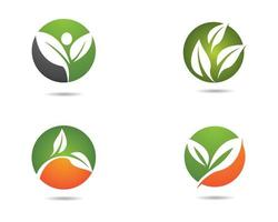 ecologia rodada conjunto de ícones verde e laranja vetor