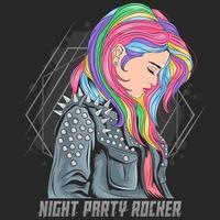 menina de cabelos colorida, vestindo uma jaqueta roqueiro vetor