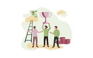 pessoas de sucesso, segurando o troféu vetor