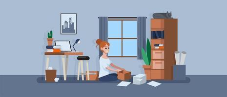 mulher sentada no chão e limpeza do espaço de trabalho vetor