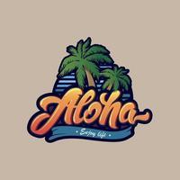 tipografia aloha colorida com palmeira vetor