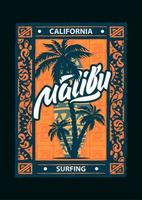 esporte malibu surf poster vetor