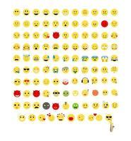 conjunto de ícones emoji coloridos vetor