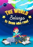 cartaz com menino lendo um livro no mundo vetor