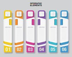 infográfico de banner vertical colorido com 6 opções