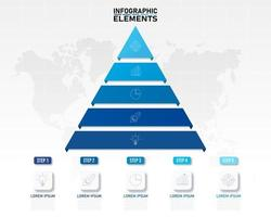 gráfico de pirâmide azul para infográficos e apresentações vetor