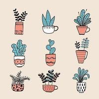 mão desenhada vasos de plantas vetor