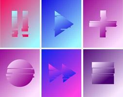 conjunto de botões de mídia de falha gradiente