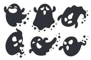 conjunto de desenhos animados de silhueta de fantasma de halloween