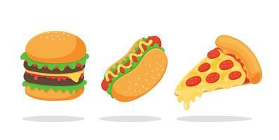 conjunto de fast food vetor