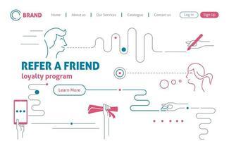 página de destino do marketing de referência de estilo linear