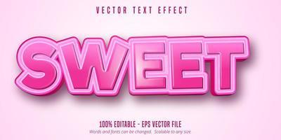 efeito de texto editável do estilo rosa doce dos desenhos animados