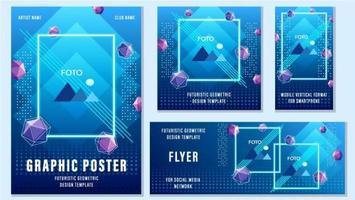 conjunto de modelos de mídia social geométrica azul