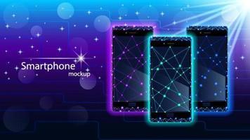 conjunto de design de baixo poli de smartphones de néon vetor